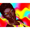 Beautiful Black Woman Colorful Makeup - Ilustracje -