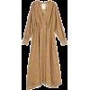Beige. Brown. Dress. Flowers - Vestidos -