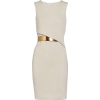 Beige Dress with Gold Belt - sukienki -