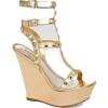 Beige and Gold Wedge Heels - Klasični čevlji -