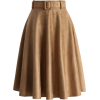 Belted Suede A-line Skirt in Tan - Retro - Skirts -