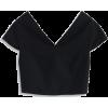 Black Cropped Top - T恤 -