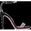Black Crystal  Suede Sandals - Sandale -