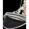 Black Crystal  Suede Sandals - Sandały -