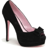 Black Suede Peep Toe Pump With Bow Accent - 11 - Sandals - $44.20