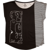 Black White Stripe Graphic Tee - Camisola - curta - $52.00  ~ 44.66€