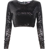 Black Cropped Sequin Top  - Long sleeves t-shirts -