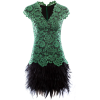 Black Feather Green Lace - Dresses -
