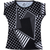 Black And White Polka Dots Geo Print Tee - T-shirts - $46.00