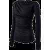 Black Boat Neck Long Sleeved Tops - Long sleeves shirts - $19.90