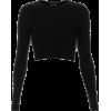 Black Crop Top - Long sleeves shirts -