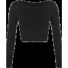 Black Crop Top - Koszulki - długie -