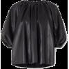 Black Faux Leather Blouson Top - Other -