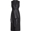 Black Faux Leather Front Ruffle Dress - Other -