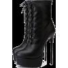 Black Heel Boots - Boots -