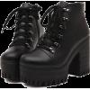 Black Lace-Up Boots - Stivali -