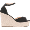 Black Peep Toe Wedges With Ankle Strap - プラットフォーム - $34.00  ~ ¥3,827