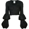 Black Puff Sleeve Blouse - Dresses -