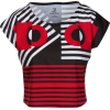 Black Red Geometric Graphic Cropped Tee - T-shirts - $46.00