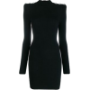 Black Square Shoulder Sweater Dress - Obleke -