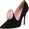 Black Suede Heel with Pink Rose - Classic shoes & Pumps -