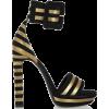 Black and Gold Stripe Sandal - Classic shoes & Pumps -