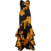 Black and Golden Yellow Tropical Dress - Dresses -