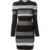 Black and Gray Sweater Dress - Dresses -
