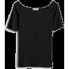 Black boat neck top - Majice - kratke -