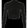 Black side webbing long sleeve pleated t - Camisas - $25.99  ~ 22.32€