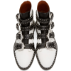 Black white studded ankle motorcycle - Buty wysokie - $89.25  ~ 76.66€