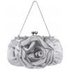 Blossom Rose Rhinestones Clasp Closure Soft Evening Bag Baguette Clutch Handbag Purse Shoulder Bag w/2 Chain Straps Silver - Hand bag - $22.50