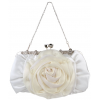 Blossom Rose Rhinestones Clasp Closure Soft Evening Bag Baguette Clutch Handbag Purse Shoulder Bag w/2 Chain Straps White - Hand bag - $22.50