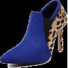 Blue/Black Leopard Print Patchwork Suede - Boots - $48.00
