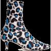 Blue Cat Print Boots - Botas -