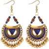 Blue Enamel and Gold Boho Dangle Earring - Серьги -