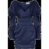 Blue Ruched Mini Dress - Dresses -