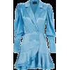 Blue Satin Blazer Dress - Other -