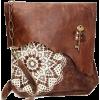 Boho Leather Messenger Bag with Crochet - Messenger bags -