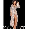 Botanical Print Shawl Collar Dress - Dresses -