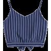 Bowknot Stripes Cut Out Cropped Tank Top - Tanks - $14.49  ~ ¥1,631