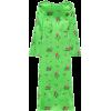 Bright green Neon floral-print silk-blen - Dresses -
