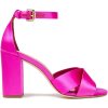 Bright pink Faux leather-trimmed neon sa - Sandals -