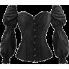Brocade Long Sleeves Overbust Corset - Underwear - $40.00