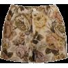 Brown floral print vintage - Hose - kurz -