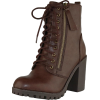 Brown Chunky Lace-Up Boots - Сопоги -