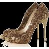 Brown Lace Heels - Classic shoes & Pumps -