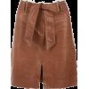 Brown Leather Skirt - Skirts -