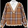 Brown. Plaid sweater. - Jerseys -