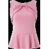 Bubblegum Pink Peplum Top - Shirts -